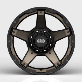 GRID GD04 DOUBLE DARK TINT / GLOSS BLACK LIP GVM LANDCRUISER WHEEL 1650KGS (17X9 5X150 -12)