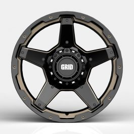 GRID GD04 GLOSS BLACK DOUBLE DARK TINT GVM LANDCRUISER WHEEL 1650KGS (17X9 5X150 -12)