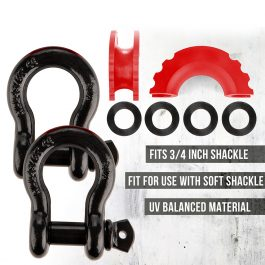 CAOS 2PCS SHACKLE PROTECTOR AND 4 ISOLATORS – RED