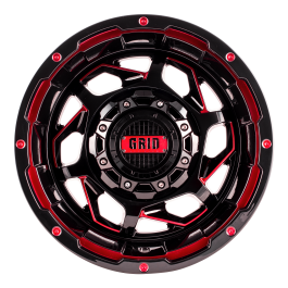 GVM LANDCRUISER WHEEL GRID GD14 GLOSS BLACK RED 1650KGS (17X9 5X150 -12)